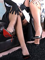 Two posh ladies in frocks get up to kinky lesbian nylon play! With all the touching and caressing, soon it's hot mutual masturbation and oral... and some very kinky stiletto heel play!