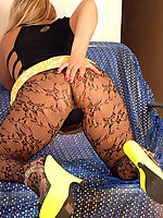 Kaz is in clubing outfit of skimpy designer top and mini, sexy blacy lacy tights and funky heels..but it looks like she`s not going too far! Well she goes to the max for us, stripping and masturbating like a real bad girl should, fingering her tight butt