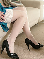 Hot Milf Alison shows off her silky smooth nylon legs and her bow high heels