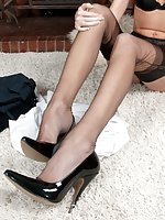 Bianca is flashing her long nylon sheathed legs rather than doing her books!