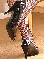 Fishnets always look better when they are worn with stiletto heels