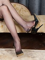 Glamorous Bianca in RHT nylons, merry widow and sheer black panties!