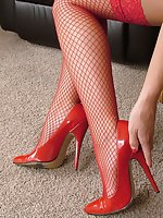 Amy looks simply stunning and tempting in her red high heel shoes. She desperately needs a man who will worship her beauty and show his fetish for her high stiletto shoes